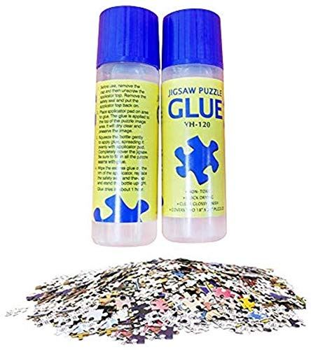 Jigsaw Puzzle Glue with Trowel Applicator Suitable for 500,1000,2000pcs Paper Puzzle, 120ML Bottle Liquid Glue Jigsaw Puzzle Accessory(2pack)