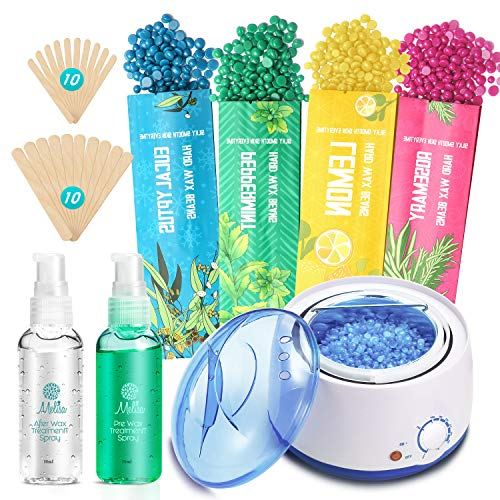Yeelen Waxing Kit Wax Warmer Wax Beads Épilation à la cire chaude avec 4 packs de haricots de cire durs et 20 bâtons d'applicateur de cire pour hommes femmes visage sourcils jambes brésilien