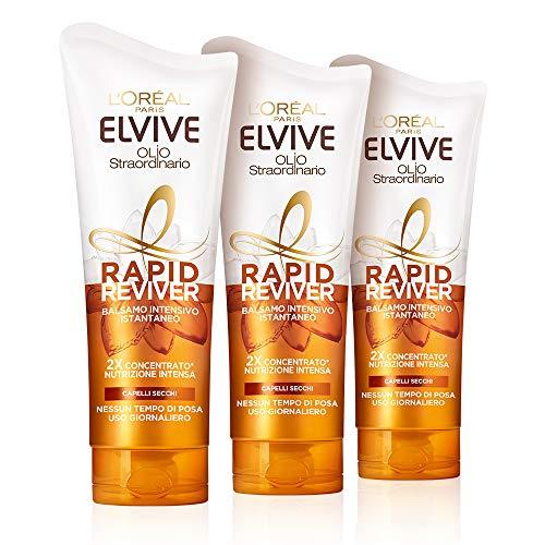 L'Oréal Paris Elvive Rapid Reviver Balsamo Intensivo Istantaneo Olio Straordinario, Arricchito con Amminoacido e Olio di Jojoba, per Capelli Secchi, Confezione da 3