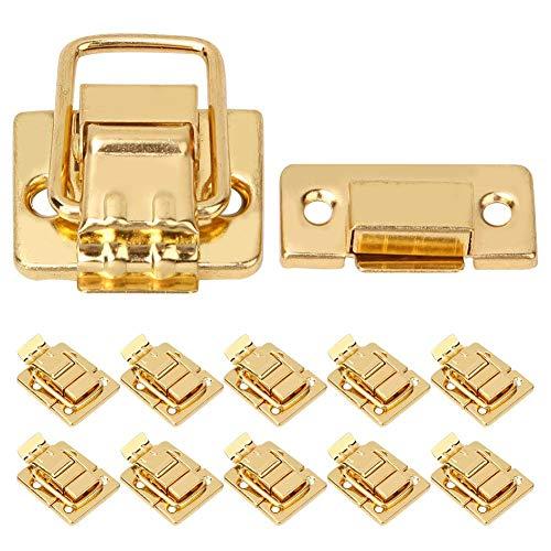 HEEPDD koffer hasp grendel, 10 stuks roestvrij staal gouden grendel sluiting voor houten kist bagage koffer sieradendoos 28x40mm