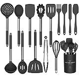 Umite Chef Kitchen Utensil Set, 15pcs Silicone Cooking Kitchen Utensils Set, Cooking Tools Turner Tongs Spatula Spoon for Nonstick Heat Resistant Cookware - (Black)