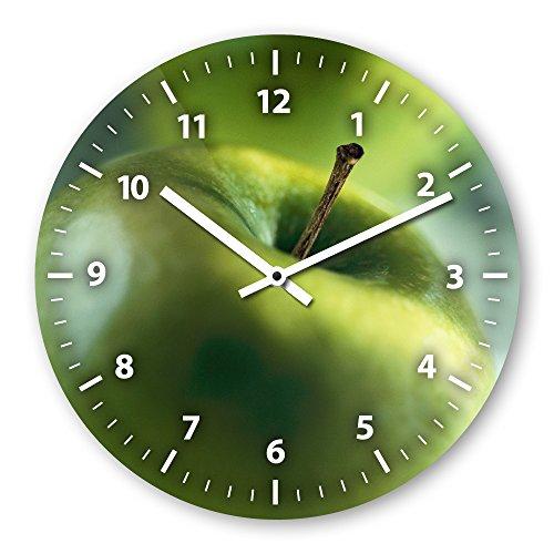 Wanduhr mit Motiv - Apfel - aus Echt-Glas   runde Küchen-Uhr   große Uhr modern