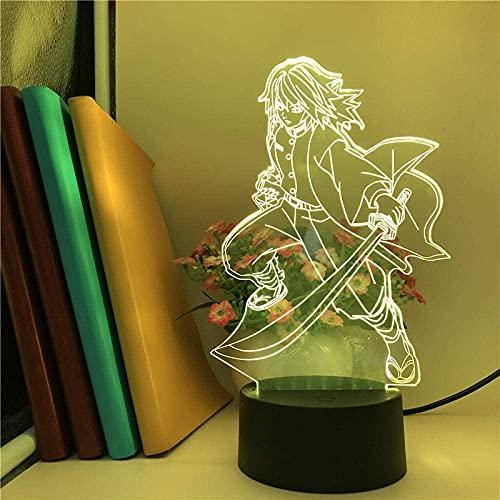 JYDNBGLS Regalo de los hombres japonés anime luz tomioka yoshiyuki reloj despertador base 3D luz marinero luna anime luz efecto de iluminación visual