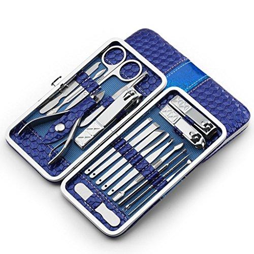 lunji 18en 1Set de cortaúñas cutícula (tijeras de uñas de acero inoxidable cuidado Uñas Herramienta para Manicura Pedicura