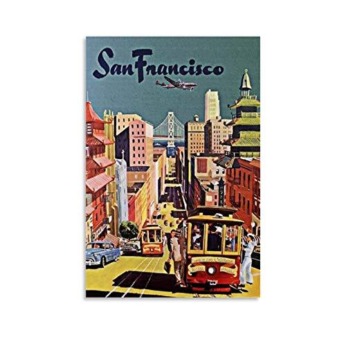 ANZZZ Cuadro decorativo San Francisco Vintage Póster de viaje en lienzo y arte de pared, impresión moderna para decoración de dormitorio familiar, 30 x 45 cm