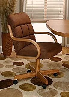 Casual Rolling Caster Dining Chair with Swivel Tilt in Oak Wood with Microsuede Seat and Back (Set of 2)