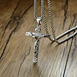 Collares Colgante Joyas Collares con Colgante De Cruz Católica Surtidos para Hombre, Collar De Oración De Cristo De Acero Inoxidable, Joyería con 24 Cadenas-Pn-460S-1
