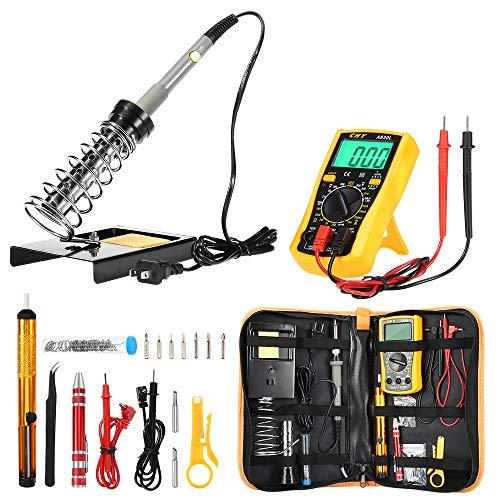 NusGear Kit de Soldador Eléctrico 60W 110V Disipación Rápida Multímetro Digital Profesional Medidor de Corriente Voltaje AC/DC Resistencia,Continuidad
