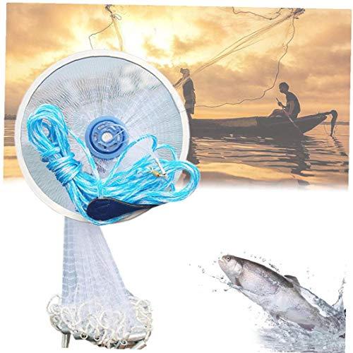 Angeln Cast Net Starke Nyloneinzelheizfaden Handwurfangeln Mesh-Bait-Trap Thrownetz für Bait-Trap-Fisch Weiß 300cm