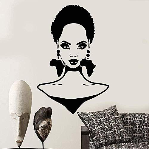 Calcomanía de pared Vinilo removible Etiqueta de la pared Chica africana Peinado Silueta Flor Continente africano Pendiente Peluquería Decoración de la pared Etiqueta de salón de belleza 38X58Cm
