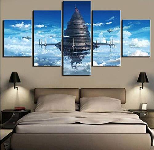 ZKPGUA Kunstdruck und Gemälde auf Leinwand Anime Sword Art Online 5 Stück auf Leinwand Sky City HD Druck Wandkunst für Wohnzimmer
