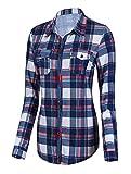 Urban CoCo Women's Classic Plaid Shirt Button Down Long Sleeve Blouse (XL, 1)