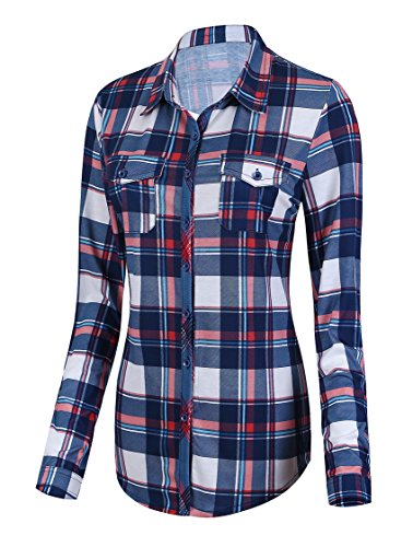 Damen Karierte Blusen Langarmhemd Karierte Bluse Plaid Shirt (XL, 1)