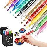 Aerb Pennarelli 12Colori: colori acrilici per dipingere Arte Pennarello Set per Ceramica, Stoffa, Tessuti, Plastica, Vetro, Metallo, Legno
