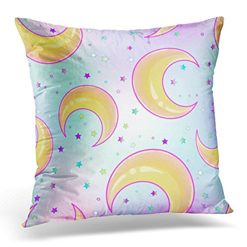 Funda de almohada decorativa White Sailor Mystical with Crescent Moons Estilo Hipster abstracto Pastel Goth Colores vibrantes Amarillo Kawaii Throw Pillow Funda Cuadrada Decoración para el hogar Funda