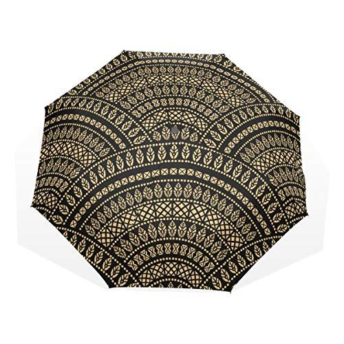 LASINSU Paraguas Resistente a la Intemperie,protección UV,Paraguas Ligero,Fondo Ondulado Popular geométrico Abstracto...