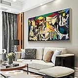 Guernica Famous Home Decor Pinturas abstractas en lienzo Picasso Posters y reproducciones Impresiones Cuadros de arte de pared para habitación 40x80cm (16x32in) Con marco