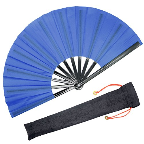 OMyTea Chinese Kung Fu Tai Chi Large Hand Folding Fan for Men/Women - with a Fabric Case for Protection - for Performance/Dance/Fighting/Gift (Blue)
