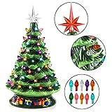 Joiedomi 15' Tabletop Prelit Ceramic Christmas Tree with 70 Multicolor Bulbs, Christmas...