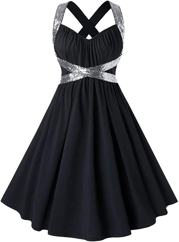 Shakumy Women Lace Splice Sleeveless Vintage Party Prom Swing Dress Elegant 1950s Retro Rockabilly Cocktail Formal Dress