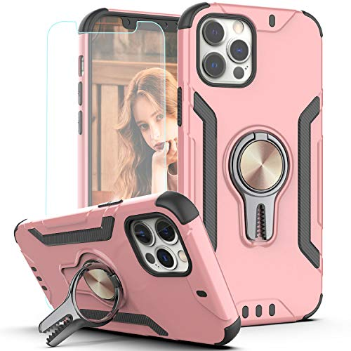 KaiMai iPhone 12 Pro Max Case with HD Screen Protector,Ring Magnetic Holder Kickstand Dual Layers of Shockproof Phone Case for iPhone 12 Pro Max 6.7 inch 2020-LJ-Rose Gold