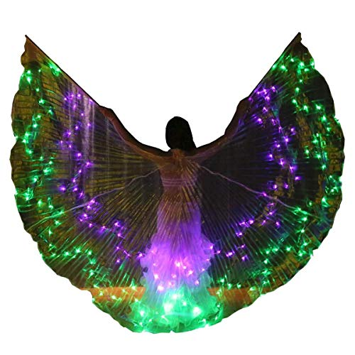 TFF verlichting vleugels, 36 kleuren (willekeurige verkleuring) buikdans vleugels met stangen - 360 graden Isis engelenvleugels voor volwassenen draagbare telescoopstokken kan vrij worden ingesteld