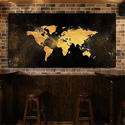 5D Diamond Painting Large Size Full drill Kits Mapa del mundo de oro DIY Pintura de Diamante bordado de punto de cruz artes manualidades para decoración de la pared del hogar 50x100cm F-2684