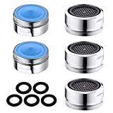 Faucet Aerator, 5 Pack Brass Shell Male 15/16 Inch Thread Kitchen Faucet Aerators Replacement Parts, 2.2 GPM Flow Retrictor, Chrome