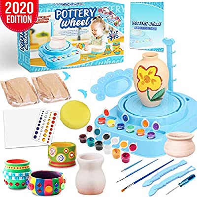 Insnug Pottery Wheel Art Craft Kit - Arts and Crafts Kids Toys Ages 8 9 10 11 12 Polymer Air Dry Modeling Clay Bar Tools Cutters and Wheel Machine, Craft Paint Palette Set Educational Toy Home School by Insnug