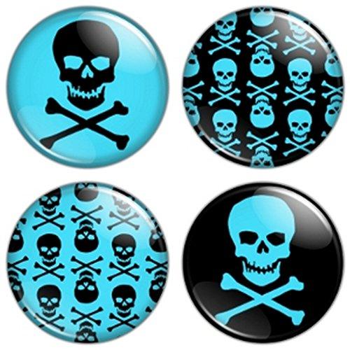 Button Bistro Men's Skull & Crossbones 1.25 inch (32 mm) Pinback Button Set Badges Pins Blue