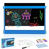 Kids Toys for 5 -12 Year Old Girls Boys Light Up Drawing Board Doodle Sketch Ultimate Magic Glow Tracing Arts Coloring Pad Writing Tablet 9 LED Lighted Effects Fun Education Toy (Blue)