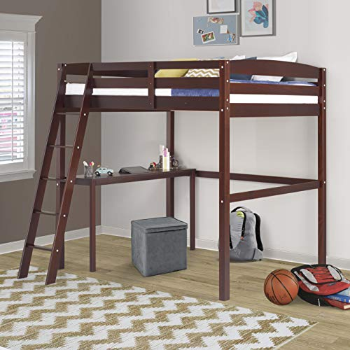 Camaflexi Concord Full Size High Loft Bed with Desk Brown