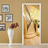 3D Etiqueta De La Puerta,Escalera Dorada Espacio Tridimensional 3D Para Puertas Interiores, Papel Pintado Autoadhesivo Pegatinas De Puerta Murales De Pared Papel Tapiz Para Decoración De Dormitorio En
