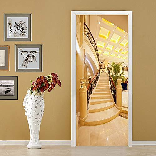 3D-muurbehang, zelfklevend voor deuren, trappen, gouden Europese fotobehang, wanddecoratie, wandfoto, afneembaar, voor woonkamer, keuken, slaapkamer, badkamer 90x210cm