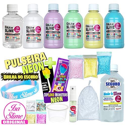 Kit Completo para Fazer Slime Colas Coloridas + Pulseira e Pirulito Neon