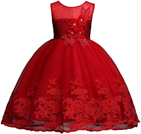 Little Girl Pageant Dress 5 6 Knee Length Sleeveless Prom Dress Size 7 Red Bridesmaid Lace A product image