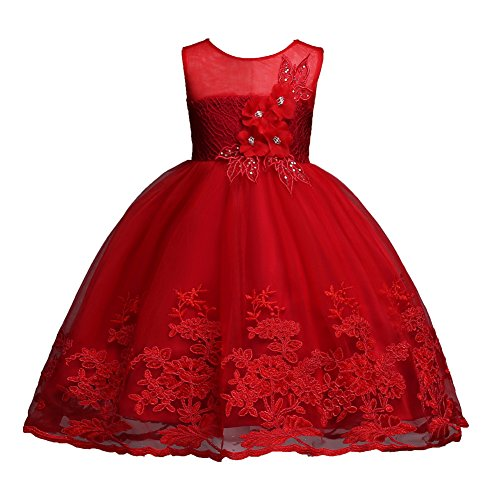 Red Prom Dress for Girls 4-5 Years Old Lace Tutu Tulle Princess Dresses Wine Bridesmaid Prom Dress for Girls Lace Size 5 Sequin Sleeveless Knee Length Pageant Dress for Wedding Elegant (Red 120)