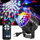 DAMIGRAM Luci Discoteca LED, LED Mini DJ Palla Cristallo Luce di Scena Lampadina Rotante Con Telecomando LED Rotante Effetto Musica Attivata Lampada da Discoteca per Illuminazione KTV