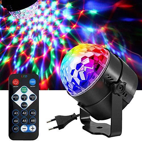 DAMIGRAM Luces Discoteca, Bola de Discoteca Luces 7 Colores RGB Lámparas Sonido Activado con Mando Distancia Giratorio Efecto Luminoso para Cumpleaños, Discoteca, DJ Bar, Navidad