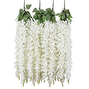 Duovlo 4 Pcs 3.12 Feet Artificial Wisteria Hanging Garland Flowers Silk Flower Bush for Wedding Party Home Garden Wall Restaurant Decoration