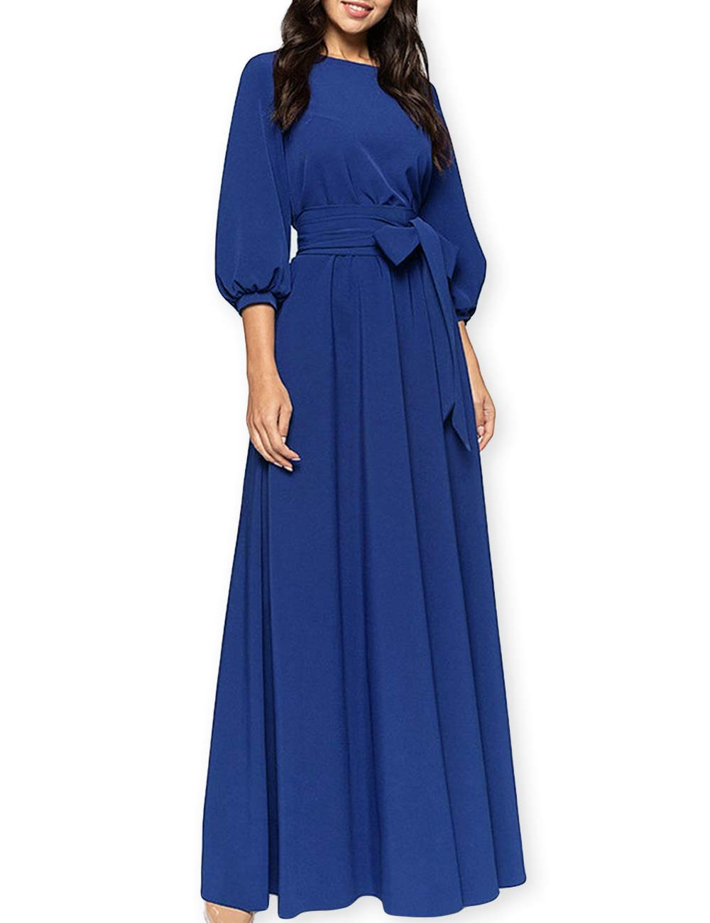 Available at Amazon: AOOKSMERY Women Elegance Audrey Hepburn Style Round Neck 3/4 Puff Sleeve Puffy Swing Maxi Dress with Belt