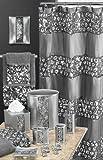 Popular Bath 5 Piece Sinatra Silver Shower Curtain and Resin Bath Accessory Set