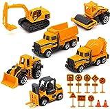 Feleph Camion di Costruzione Set 16 Pezzi Trattore Escavatore Discarica Diecast Gru Veicoli Mini Lega Ingegneria Modello Automobili Segnaletica Stradale Sandbox Giocattoli per Bambini