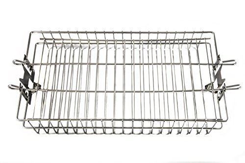 OneGrill Chrome Steel Universal Grill Rotisserie Spit Rod Flat Basket (Fits: 5/16 Inch Square, 3/8 Inch Square, & 1/2 Inch Hexagon Spit Rods)
