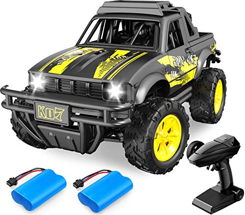 DoDoeleph RC Cars 1:16 Remote Control Car Off Racing Road Monster Truck for Kids 4WD 2.4GHz High Speed Hobby Electric Vehicle with 2 Rechargeable Batteries Gifts for Boys Girls Teens