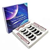 LIZONGFQ 5 Pares de pestañas magnéticas, 2 Pinzas de alineador de Ojos de líquido magnético, Conjunto Conjunto de pestañas Falsas delineador de eyeliners de líquido magnético