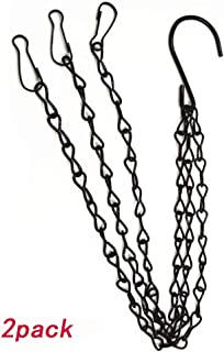 Hanging Basket Chains, 2pcs 20 inch/ 50cm Black Hanging Chains Flowerpot Iron Sling Chain 3 Point Garden Plant Hanger for Bird Feeders, Planters, Lanterns and Ornaments
