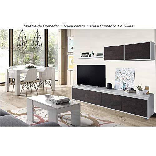 HABITMOBEL Conjunto Salon Comedor Completo; Mesa Comedor y 4 sillas + Mesa...