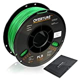 OVERTURE PLA Filament 1.75mm with 3D Build Surface 200mm x 200mm 3D Printer Consumables, 1kg Spool (2.2lbs), Dimensional Accuracy +/- 0.05 mm, Fit Most FDM Printer (Green)