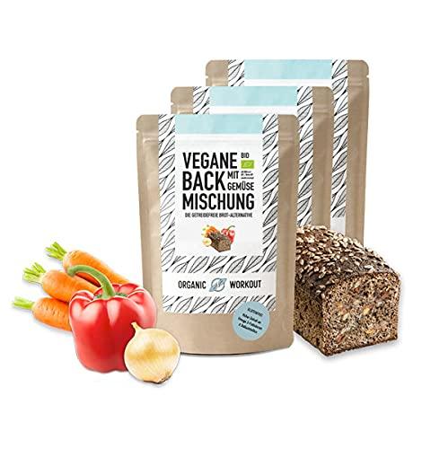 3er VEGANE BACKMISCHUNG mit Gemüse – Bio, lower-carb* Brot-Alternative, viel Pflanzen-Protein, ballaststoffreich, ohne Getreide, für keto und kohlenhydrat-reduzierte Diät